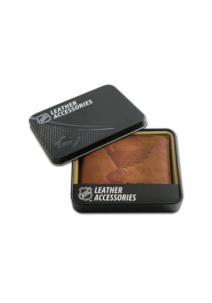 St Louis Blues Embossed Leather Mens Trifold Wallet - Image 1