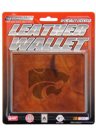 K-State Wildcats Manmade Leather Bifold Wallet - Brown
