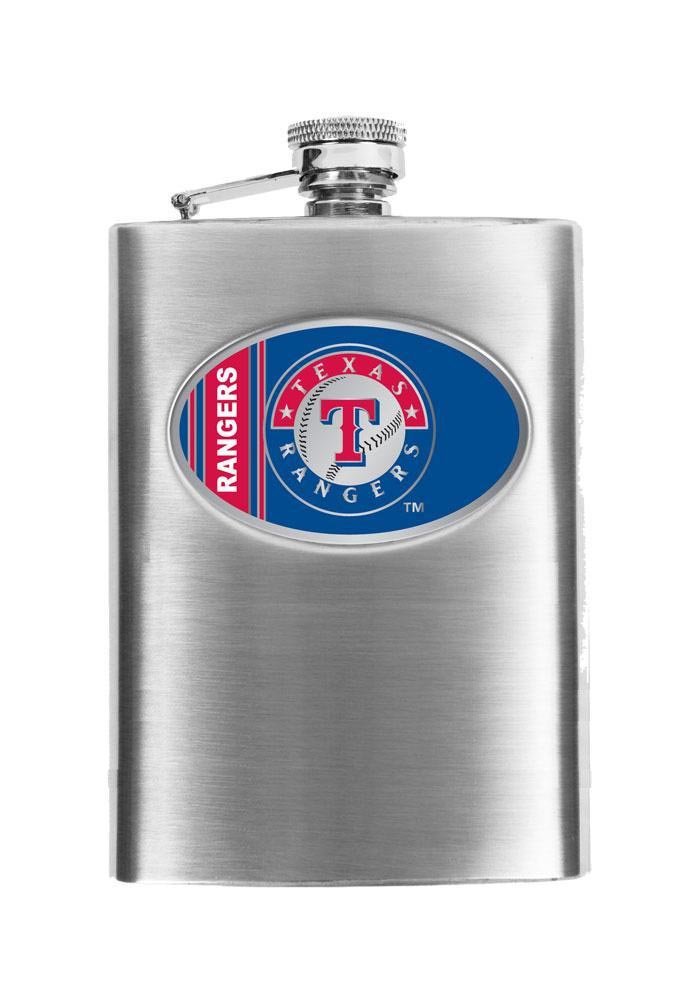 Texas Rangers 16 oz Stainless Steel Flask - Image 1