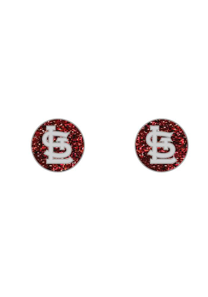 St Louis Cardinals Glitter Post Womens Earrings - Image 1