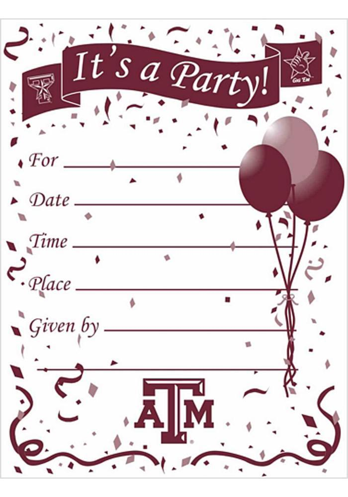 Texas A&M Aggies Party Invitation Card Sets - Image 1