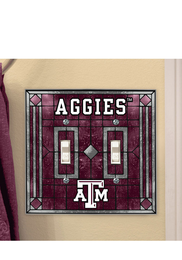 Texas A&M Aggies Art-Glass Double Light Switch Cover - Image 1