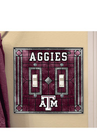 Texas A&M Aggies Art-Glass Double Light Switch Cover