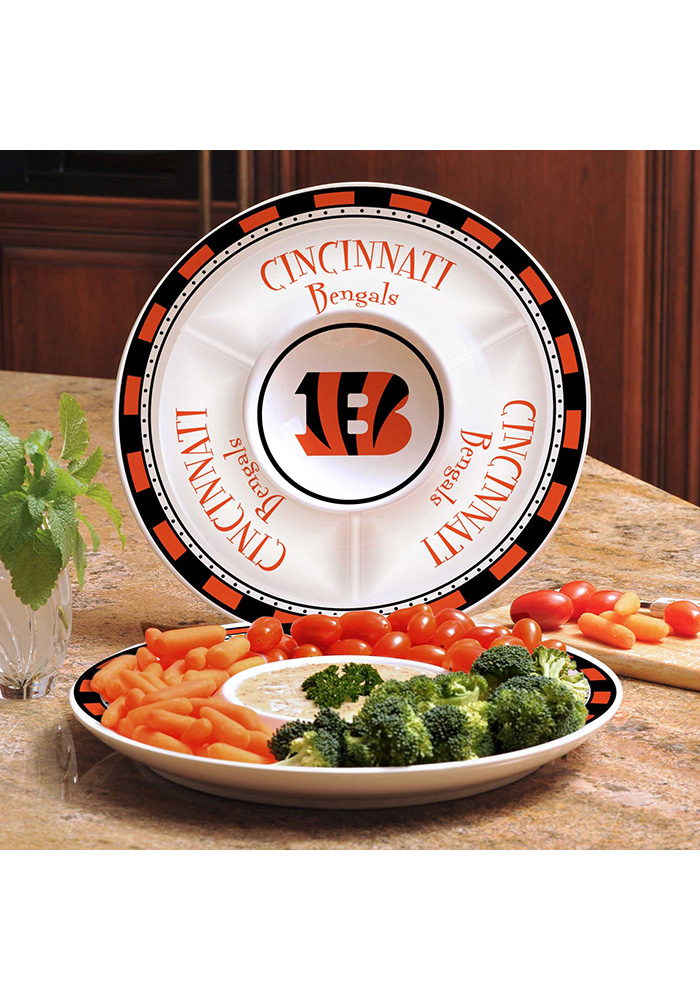Cincinnati Bengals Ceramic Chip and Dip Serving Tray - Image 1