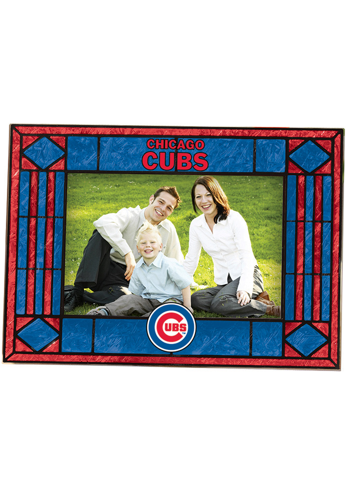 Chicago Cubs 4x6 Art Glass Horiztonal Picture Frame - 12980403