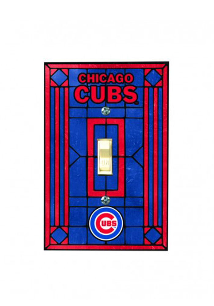Chicago Cubs Art Glass Single Light Switch Cover - Image 1