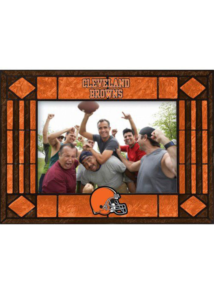 Cleveland Browns 4x6 Art Glass Horizontal Picture Frame - Image 1