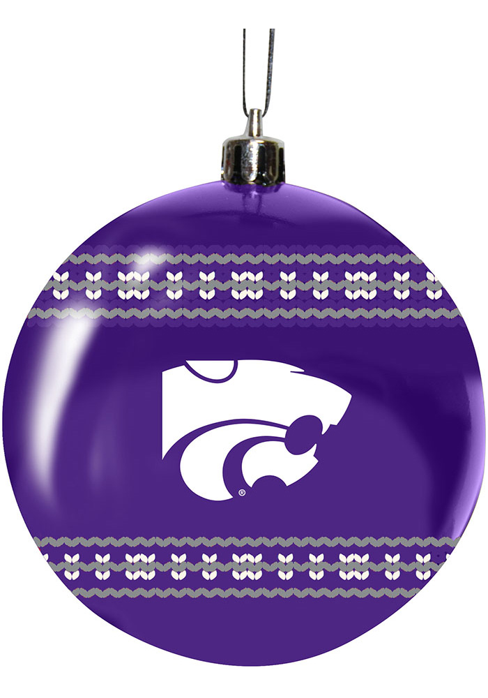 K-State Wildcats 3g Ugly Sweater Ball Ornament - Image 1