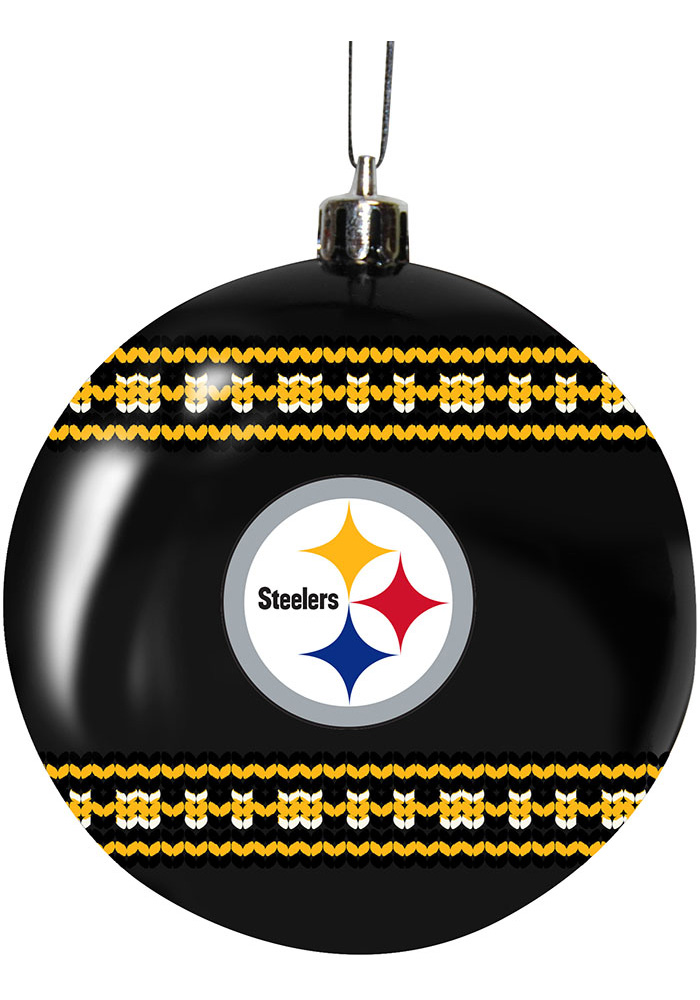 Pittsburgh Steelers 3g Ugly Sweater Ball Ornament - Image 1