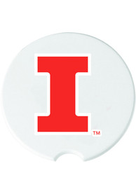 Illinois Fighting Illini Ceramic 2 Pack Car Coaster - White