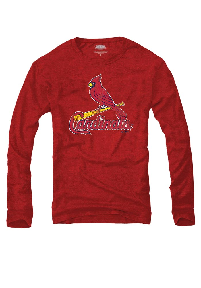 St Louis Cardinals Mens Red Triblend Long Sleeve Fashion T Shirt - Image 1