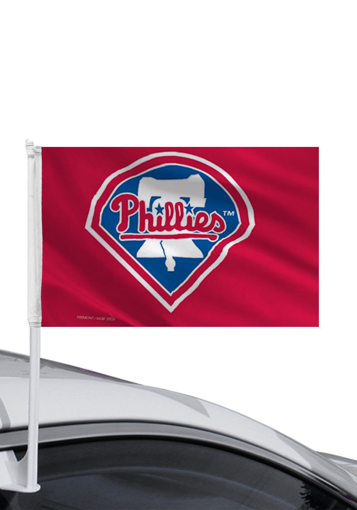 Philadelphia Phillies 11x14 Double Sided Red Polyester Car Flag - Image 1