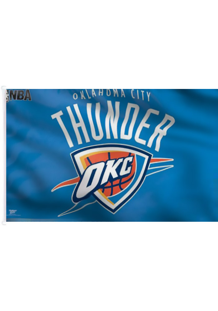 Oklahoma City Thunder 3x5 Blue Grommet Blue Silk Screen Grommet Flag - Image 1
