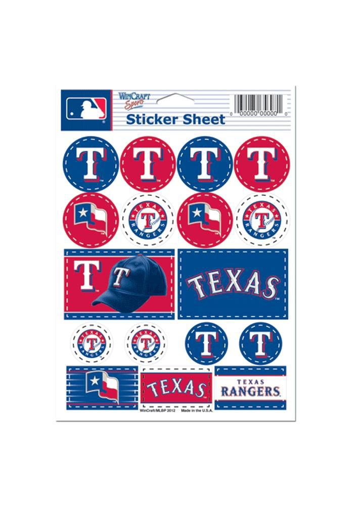 Texas Rangers 5x7 Sheet of Stickers - Image 1