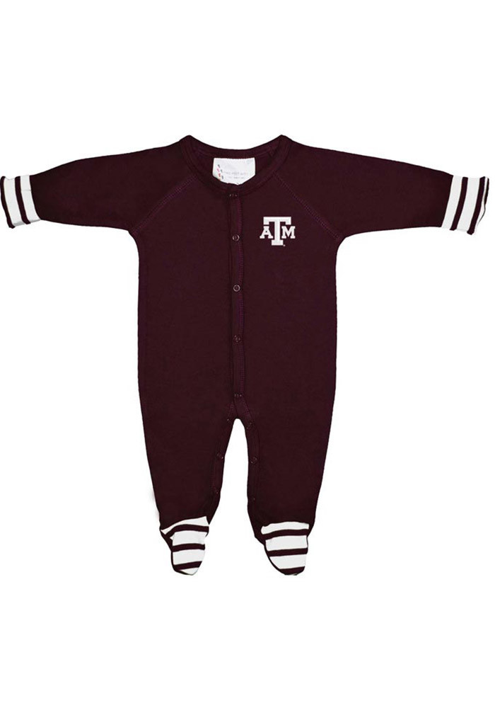 Texas A&M Aggies Baby Maroon Stripe Footed Loungewear Creeper Pajamas - Image 1