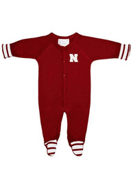 Nebraska Cornhuskers Baby Striped Footie Red Striped Footie One Piece Pajamas
