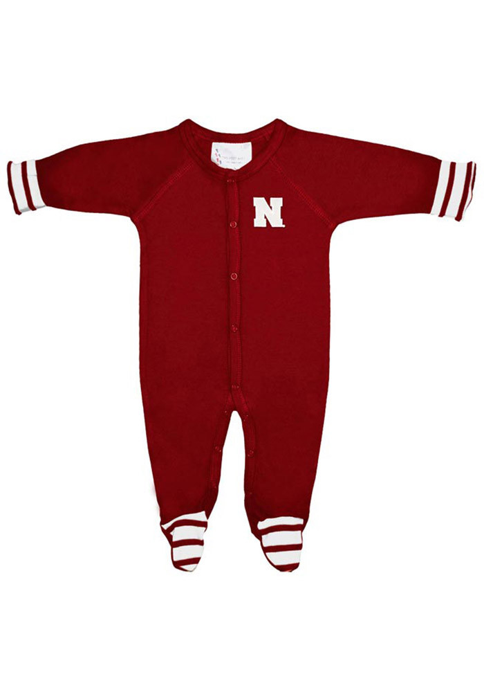 Nebraska Cornhuskers Baby Red Striped Footie Loungewear Creeper Pajamas - Image 1