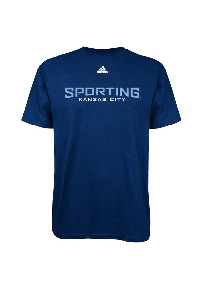 Adidas Sporting KC Mens Navy Blue Primary One Short Sleeve Tee - Image 2