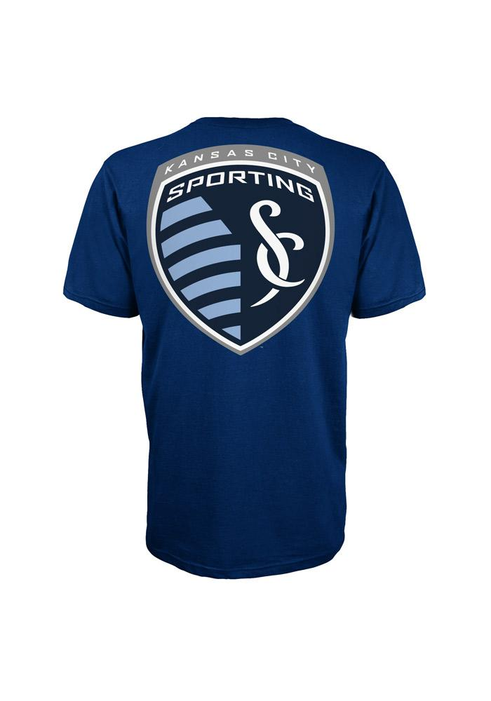 Adidas Sporting KC Mens Navy Blue Primary One Short Sleeve Tee - Image 3