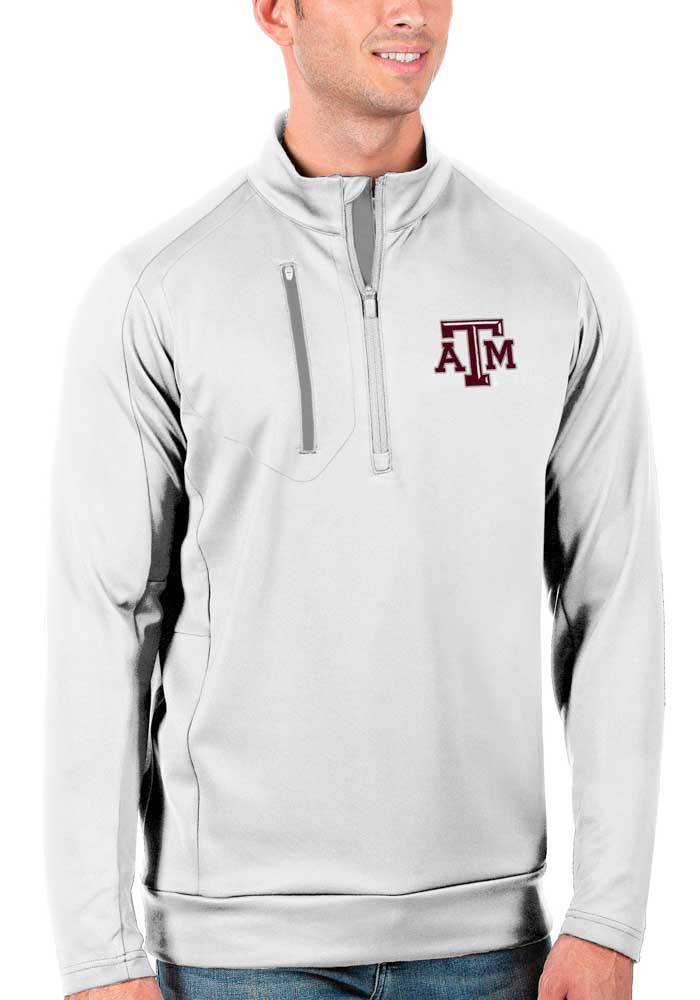 Antigua Texas A&M Aggies Mens White Generation Long Sleeve 1/4 Zip Pullover - Image 1