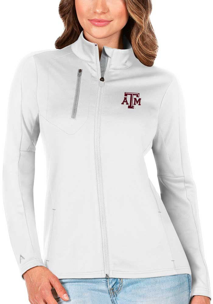 Antigua Texas A&M Aggies Womens White Generation Light Weight Jacket - Image 1