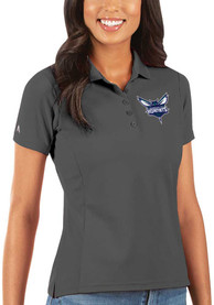 Charlotte Hornets Womens Antigua Legacy Pique Polo Shirt - Grey