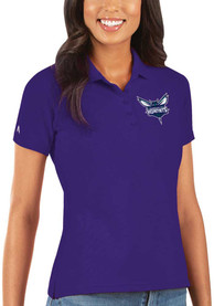 Charlotte Hornets Womens Antigua Legacy Pique Polo Shirt - Purple