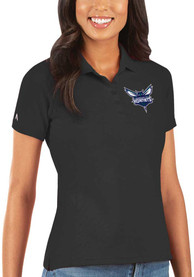 Charlotte Hornets Womens Antigua Legacy Pique Polo Shirt - Black