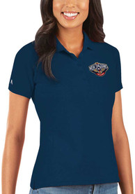 New Orleans Pelicans Womens Antigua Legacy Pique Polo Shirt - Navy Blue