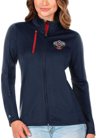 New Orleans Pelicans Womens Antigua Generation Light Weight Jacket - Navy Blue