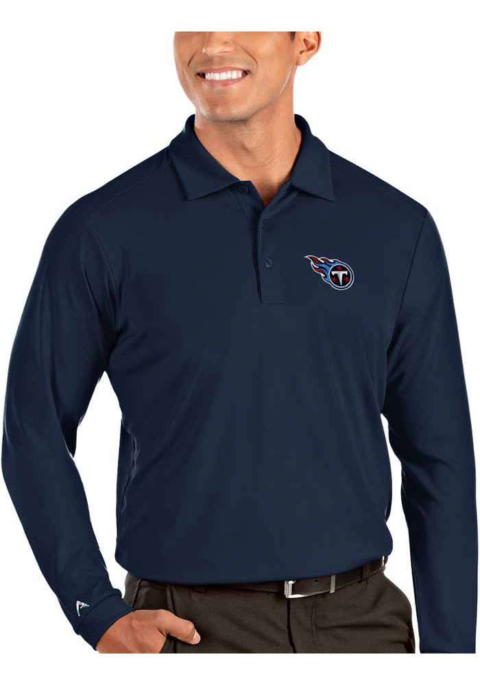 Antigua Tennessee Titans Mens Navy Blue Tribute Long Sleeve Polo Shirt - Image 1