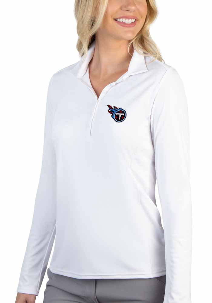 Antigua Tennessee Titans Womens White Tribute Long Sleeve Polo Shirt - Image 1