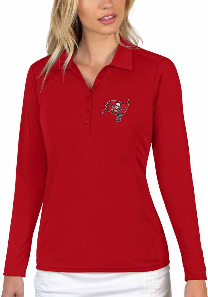 Antigua Tampa Bay Buccaneers Womens Red Tribute Long Sleeve Polo Shirt - Image 1