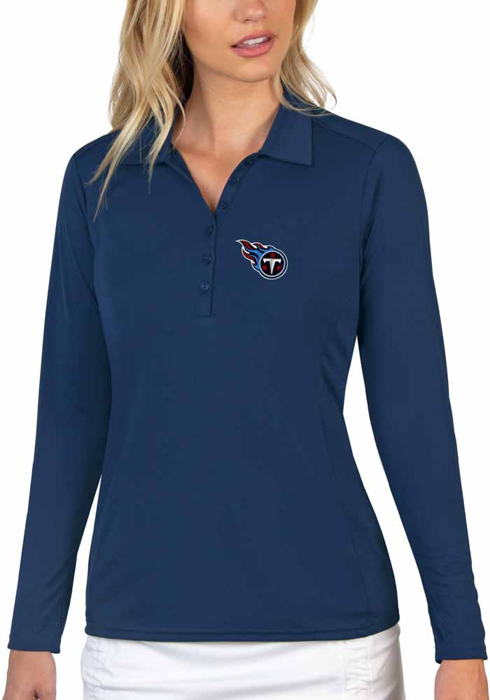 Antigua Tennessee Titans Womens Navy Blue Tribute Long Sleeve Polo Shirt - Image 1