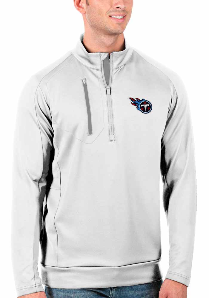 Antigua Tennessee Titans Mens White Generation Long Sleeve 1/4 Zip Pullover - Image 1