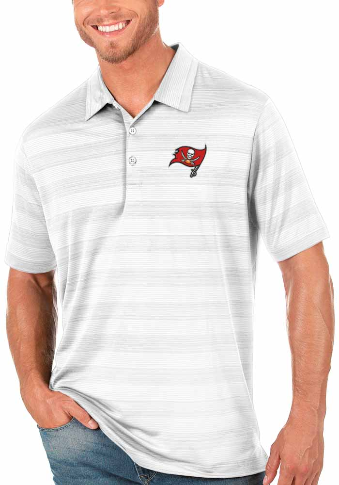 Antigua Tampa Bay Buccaneers Mens White Compass Short Sleeve Polo - Image 1