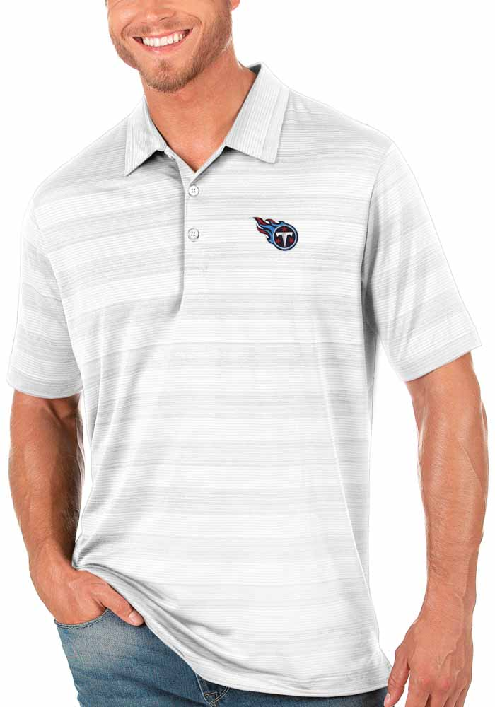 Antigua Tennessee Titans Mens White Compass Short Sleeve Polo - Image 1