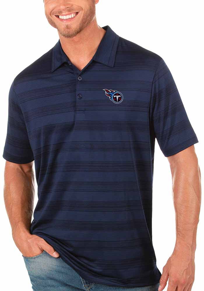 Antigua Tennessee Titans Mens Navy Blue Compass Short Sleeve Polo - Image 1