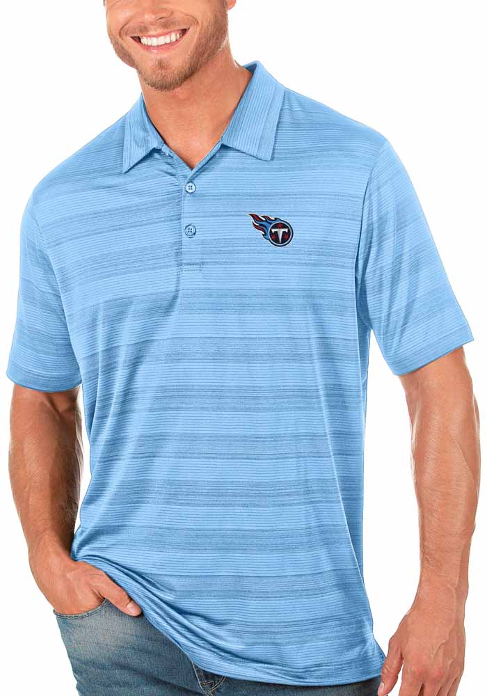 Antigua Tennessee Titans Mens Blue Compass Short Sleeve Polo - Image 1