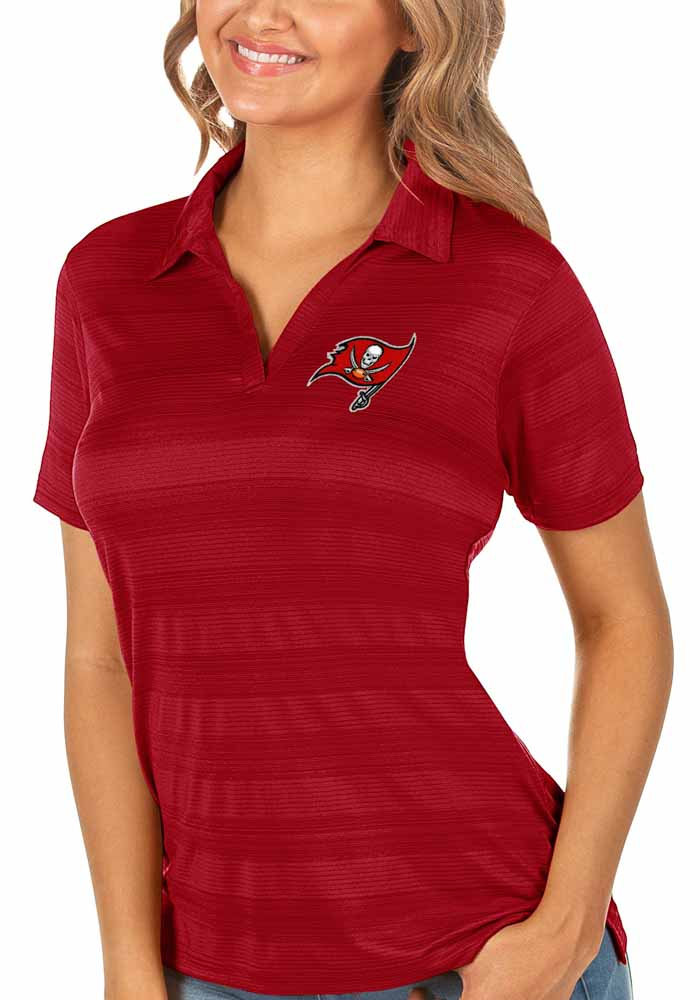 Antigua Tampa Bay Buccaneers Womens Red Compass Short Sleeve Polo Shirt - Image 1