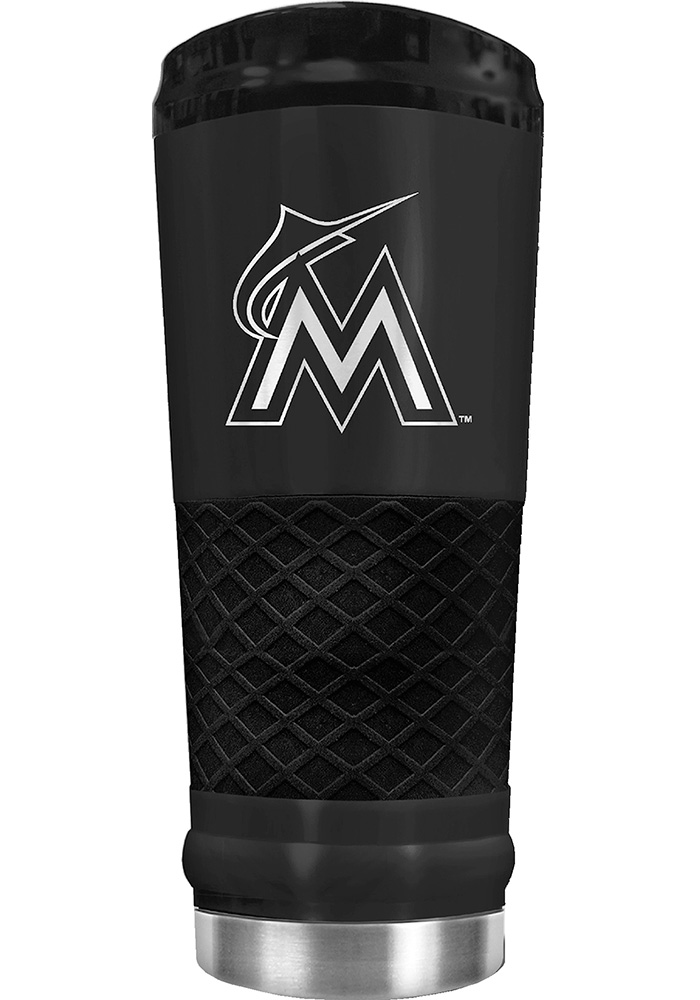 Miami Marlins Stealth 24oz Powder Coated Stainless Steel Tumbler - Black - Image 1