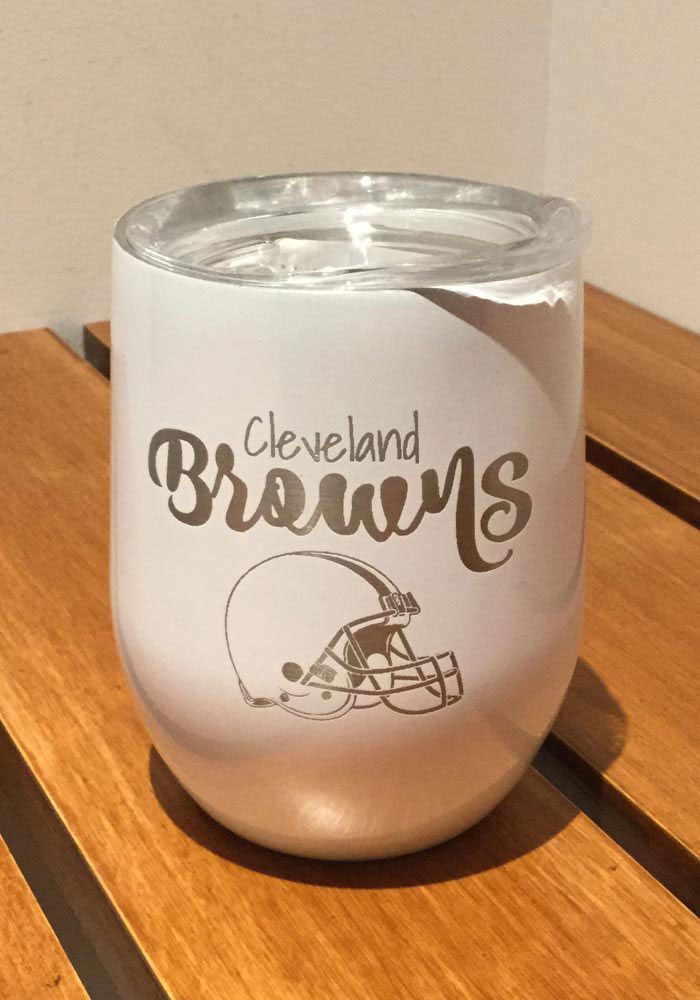 Cleveland Browns 10oz Opal Stemless Wine Stainless Steel Tumbler - White - Image 1