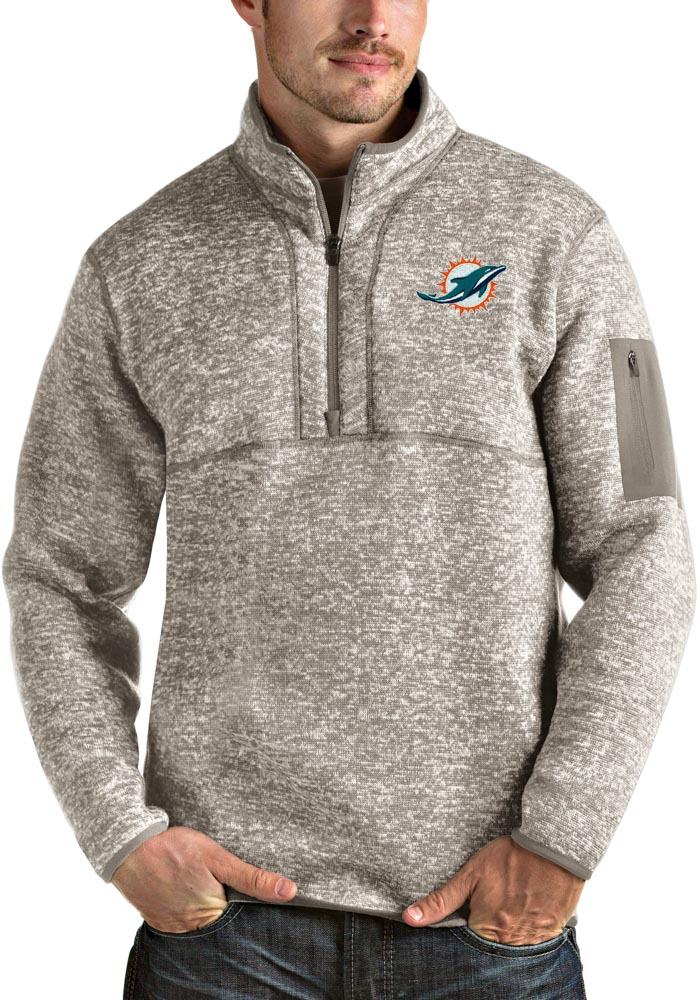 Antigua Miami Dolphins Mens Oatmeal Fortune Long Sleeve 1/4 Zip Fashion Pullover - Image 1