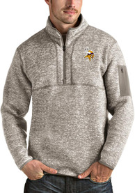 Minnesota Vikings Antigua Fortune 1/4 Zip Fashion - Oatmeal