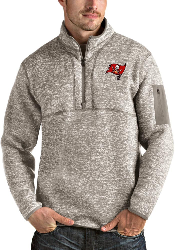 Antigua Tampa Bay Buccaneers Mens Oatmeal Fortune Long Sleeve 1/4 Zip Fashion Pullover - Image 1
