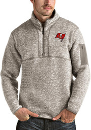 Antigua Tampa Bay Buccaneers Mens Oatmeal Fortune Long Sleeve 1/4 Zip Fashion Pullover
