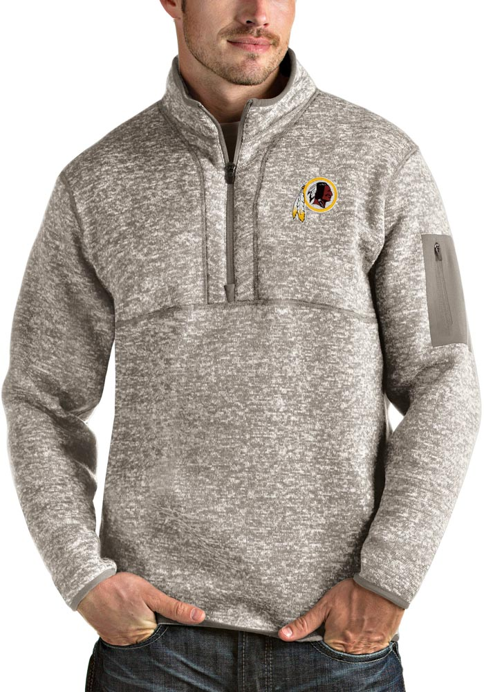 Antigua Washington Redskins Mens Oatmeal Fortune Long Sleeve 1/4 Zip Fashion Pullover - Image 1