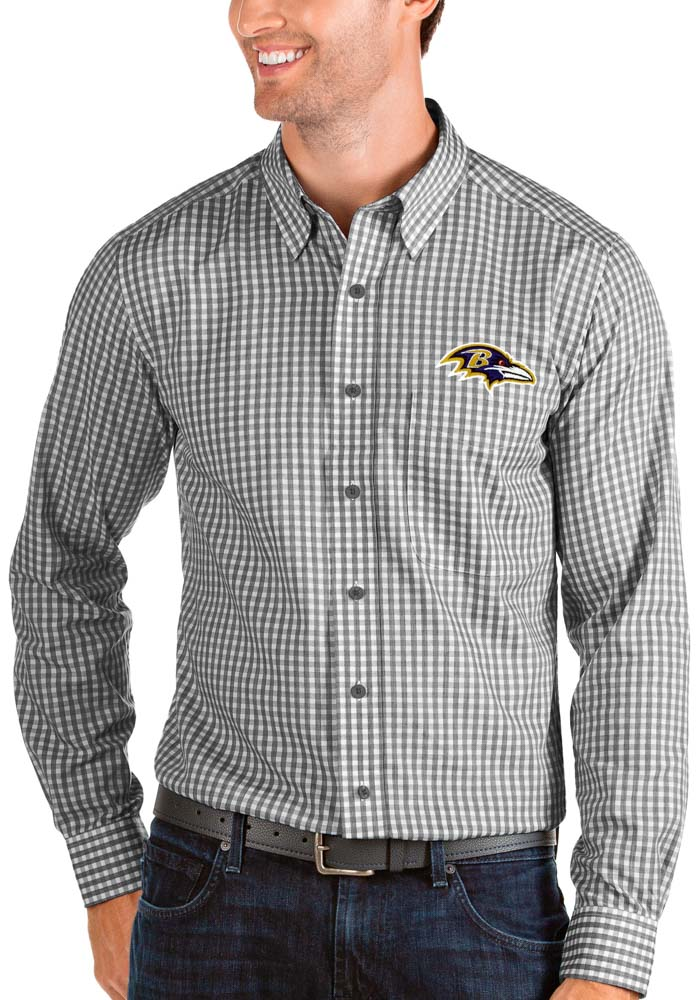 Antigua Baltimore Ravens Mens Black Structure Long Sleeve Dress Shirt - Image 1