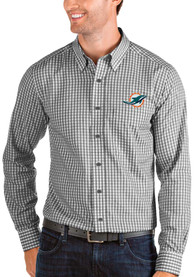 Miami Dolphins Antigua Structure Dress Shirt - Black