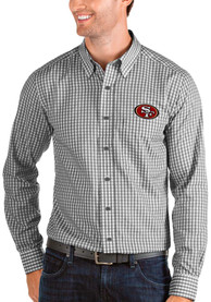 San Francisco 49ers Antigua Structure Dress Shirt - Black